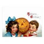 Frances Brundage: Boy and Girl with Jack O'Lantern Postcards