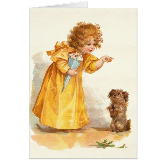 Frances Brundage Cute Victorian Girl and Terrier Card