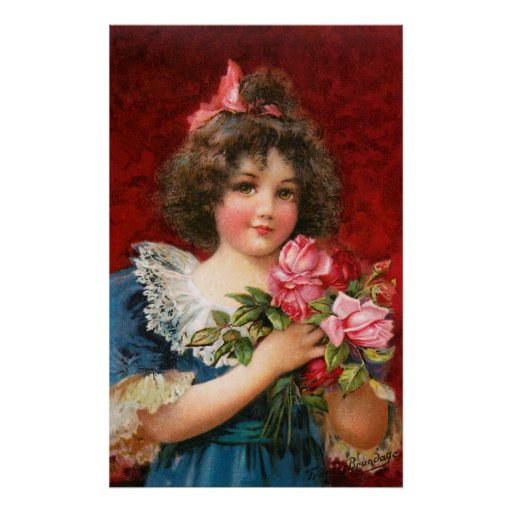 Frances Brundage: Girl with Roses Posters