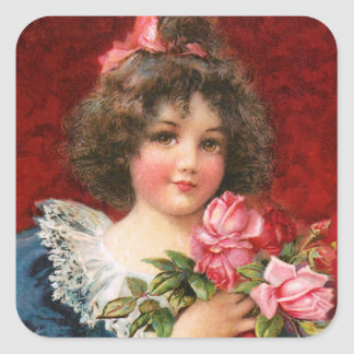 Frances Brundage Girl with Roses Square Sticker