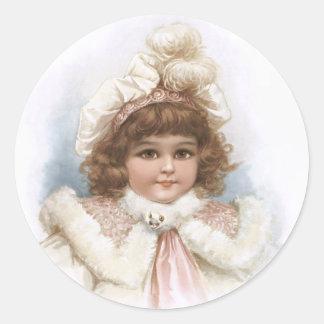 Frances Brundage - Little Girl with Fur Collar Round Sticker