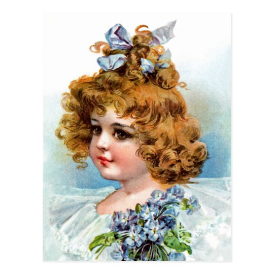 Frances Brundage - Portrait of a Flowery Girl Postcard