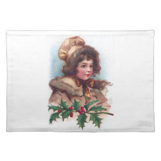 Frances Brundage Winter Girl with Holly Placemat