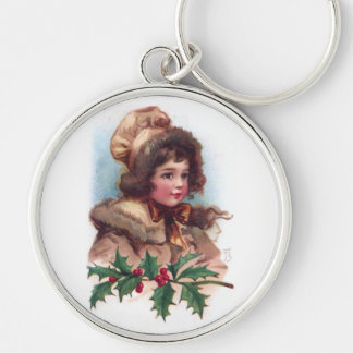 Frances Brundage: Winter Girl with Holly Silver-Colored Round Key Ring