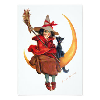 """Frances Brundage: Witch on Sickle Moon 5"""" X 7"""" Invitation Card"""