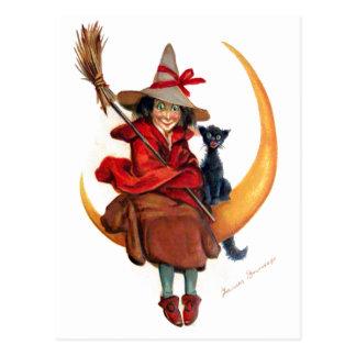 Frances Brundage: Witch on Sickle Moon Postcard