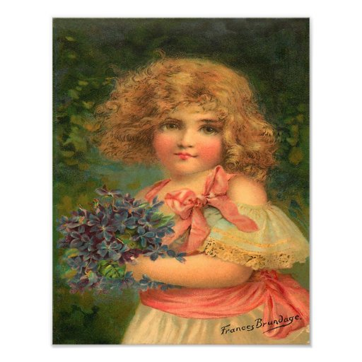 """Frances Brundage """"Young Girl with Flowers"""" Art Photo"""