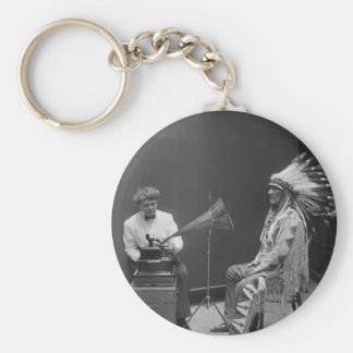 Frances Densmore Audio Recording Blackfoot Chief Basic Round Button Key Ring