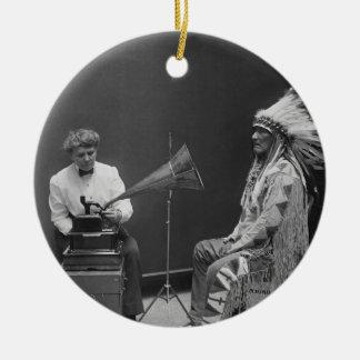 Frances Densmore Audio Recording Blackfoot Chief Double-Sided Ceramic Round Christmas Ornament