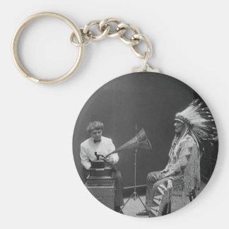 Frances Densmore Audio Recording Blackfoot Chief Basic Round Button Key Ring