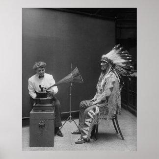 Frances Densmore Audio Recording Blackfoot Chief Poster