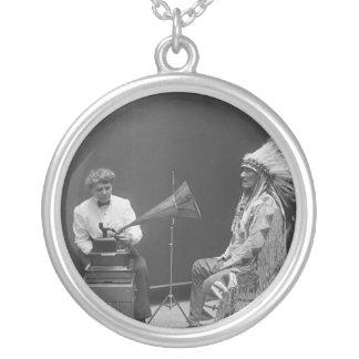 Frances Densmore Audio Recording Blackfoot Chief Round Pendant Necklace