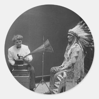 Frances Densmore Audio Recording Blackfoot Chief Round Sticker