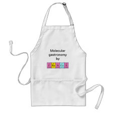 Apron featuring the name Frances spelled out in symbols of the chemical elements