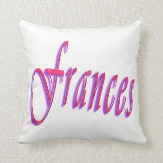 Frances, Pink Name Logo, White Throw Cushion. Cushion