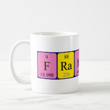 Mug featuring the name Francesca spelled out in symbols of the chemical elements
