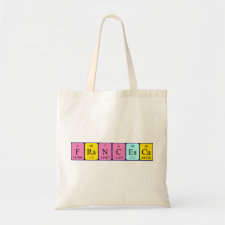 Bag featuring the name Francesca spelled out in symbols of the chemical elements