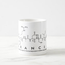 Mug featuring the name Francis spelled out in the single letter amino acid code