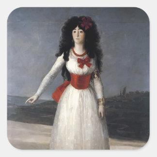 Francisco Goya- Duchess of Alba, The White Duchess Square Sticker