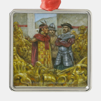 Francisco Pizarro next to Inca Emperor Atahualpa Christmas Ornament