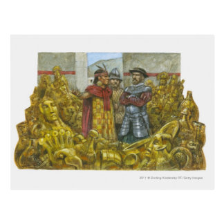 Francisco Pizarro next to Inca Emperor Atahualpa Postcard