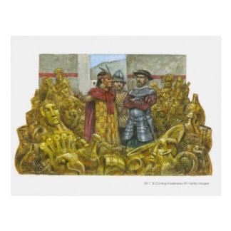 Francisco Pizarro next to Inca Emperor Atahualpa Postcard