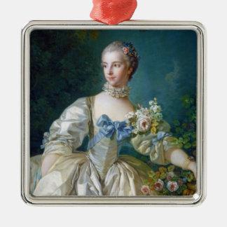 FRANCOIS BOUCHER - MADAME BERGERET portrait art Silver-Colored Square Decoration