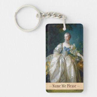 FRANCOIS BOUCHER - MADAME BERGERET portrait art Double-Sided Rectangular Acrylic Key Ring