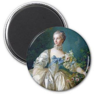 FRANCOIS BOUCHER - MADAME BERGERET portrait art 6 Cm Round Magnet