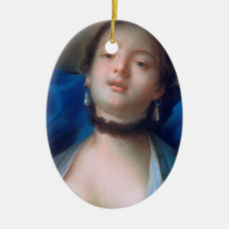 Francois Boucher Portrait of Young Woman lady art Double-Sided Oval Ceramic Christmas Ornament