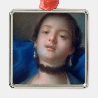 Francois Boucher Portrait of Young Woman lady art Silver-Colored Square Decoration