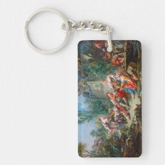 francois boucher shepherd's idyll rococo scenery Double-Sided rectangular acrylic key ring