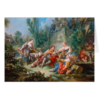 francois boucher shepherd's idyll rococo scenery note card