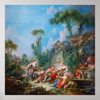 francois boucher shepherd's idyll rococo scenery posters