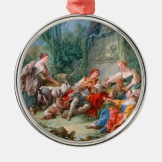 francois boucher shepherd's idyll rococo scenery Silver-Colored round decoration