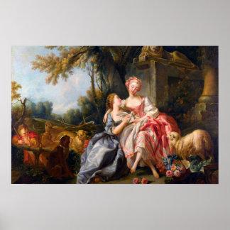 Francois Boucher The Billet Dou rococo ladies art Print