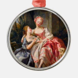 Francois Boucher The Billet Dou rococo ladies art Silver-Colored Round Decoration