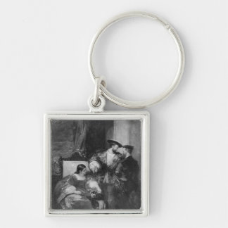Francois I and Anne de Pisseleu Silver-Colored Square Key Ring