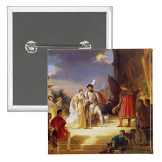 Francois I  with Leonardo da Vinci 15 Cm Square Badge