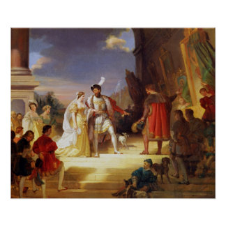 Francois I  with Leonardo da Vinci Poster