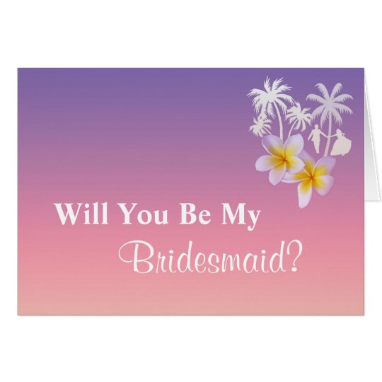 Frangipani Beach Wedding Bridesmaid Request Card