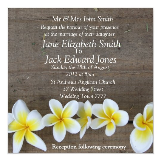 Frangipani Beach Wedding Custom Invitations