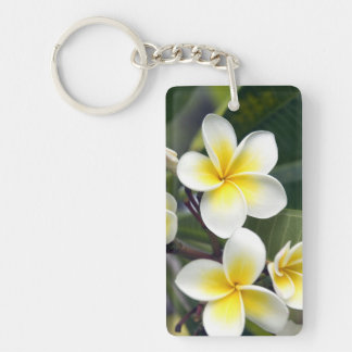 Frangipani flower Cook Islands Double-Sided Rectangular Acrylic Key Ring
