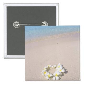 Frangipani on the beach 15 cm square badge