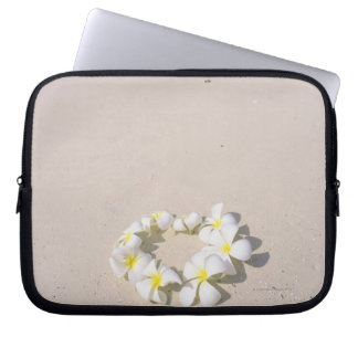 Frangipani on the beach laptop sleeve