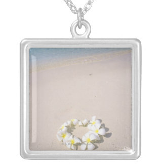 Frangipani on the beach silver plated necklace