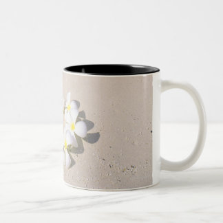 Frangipani on the beach Two-Tone coffee mug