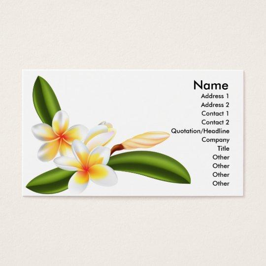 frangipani or plumeria flower business card