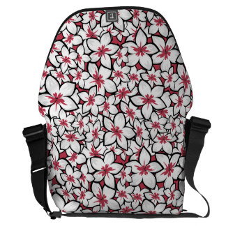 Frangipani Pattern Fuchsia Pink and White Courier Bags