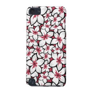 Frangipani Pattern Fuchsia Pink and White iPod Touch 5G Cases